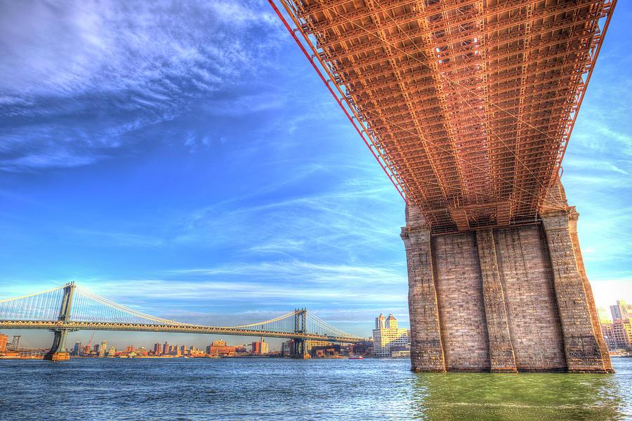 Brooklyn And Manhattan Bridges  by David Pyatt