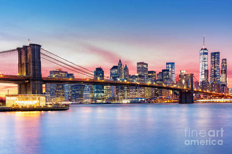 Usa Photograph - Brooklyn Bridge And The Lower Manhattan by Mandritoiu