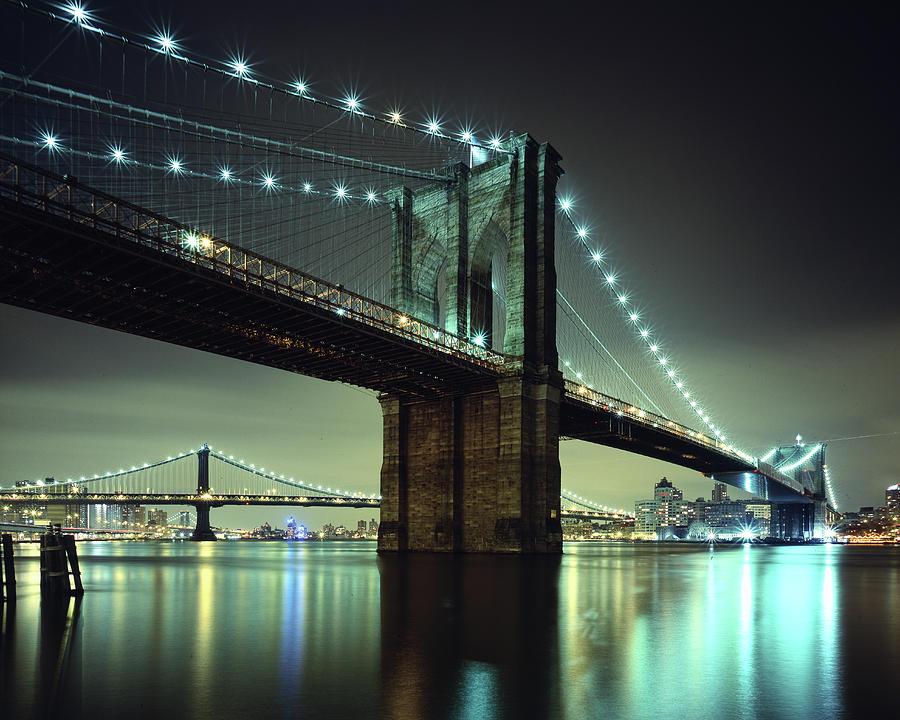 Suspension Bridge Photograph - Brooklyn Bridge At Night, New York City by Andrew C Mace