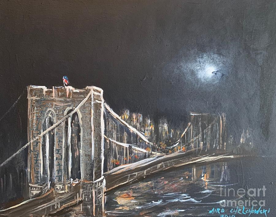 brooklyn bridge by night by Miroslaw  Chelchowski