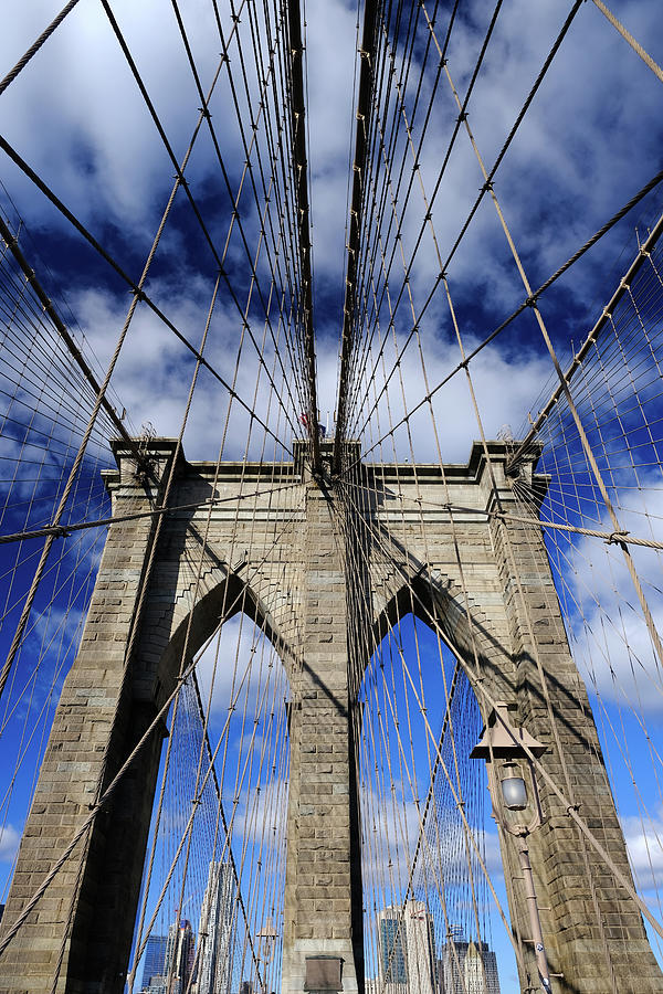 Brooklyn Bridge Cables and Clouds by Clint Buhler