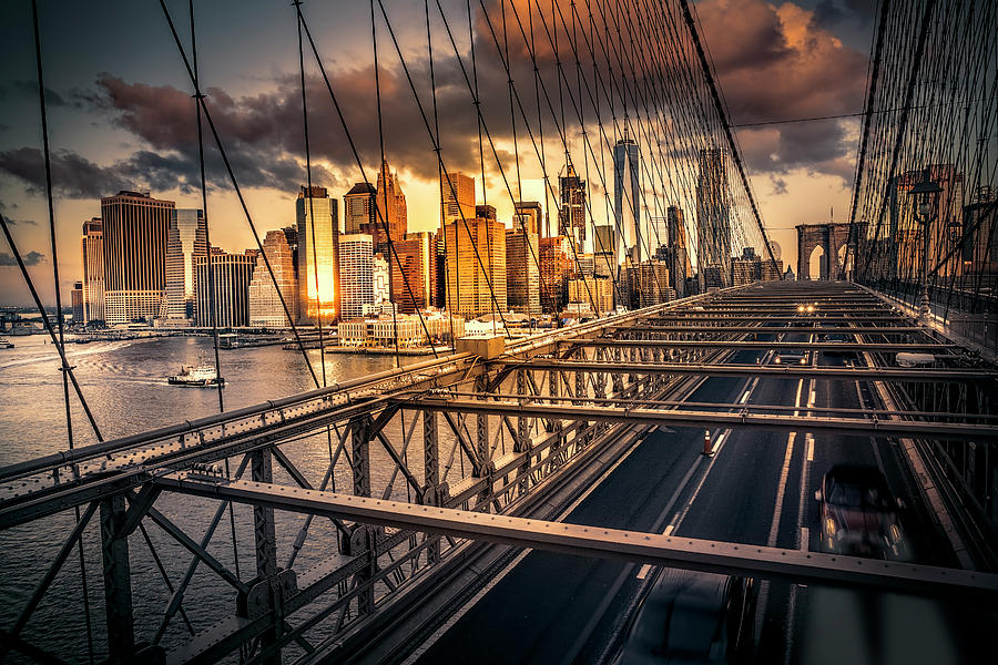 BROOKLYN BRIDGE COMMUTER DAWN by Daniel Hagerman