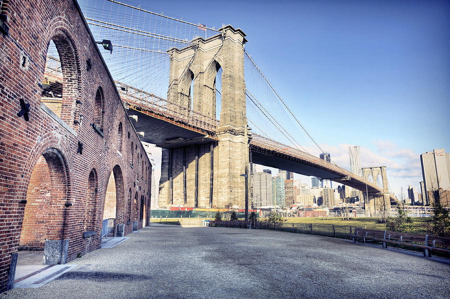 Brooklyn Bridge From Down Under Photograph by By Gene Krasko