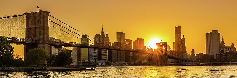 Brooklyn Bridge Sunset Photograph by M Bilton