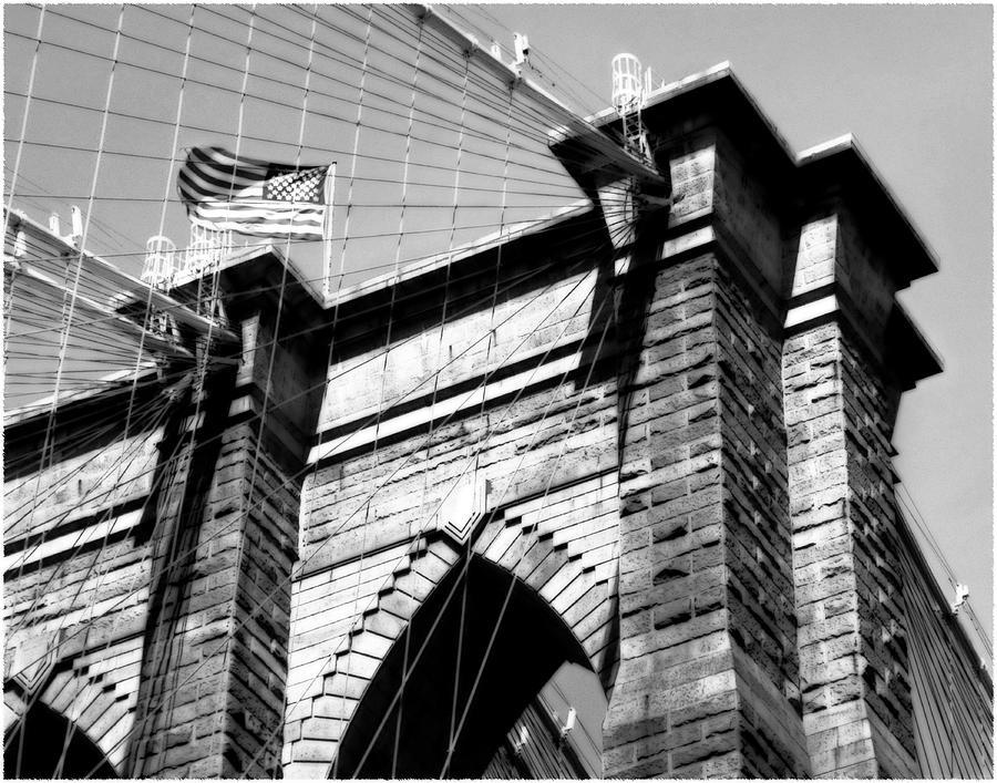 Brooklyn Bridge Photograph - Brooklyn Bridge Tower Plate #5 by Harold Silverman - Buildings & Cityscapes
