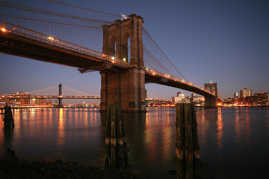 Brooklyn Bridge Twilight Photograph by Chris Bliss