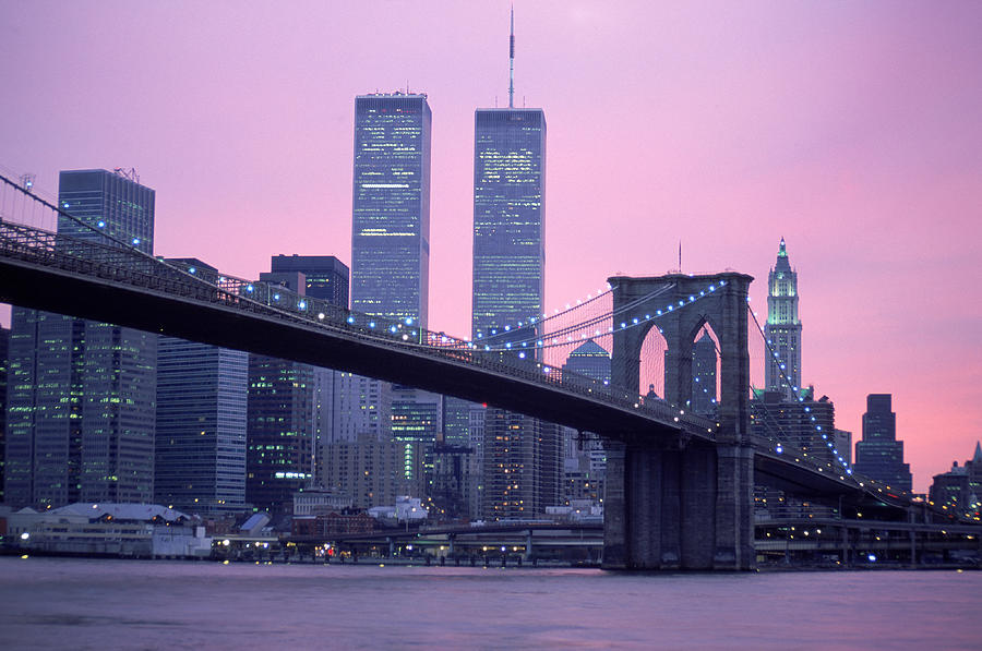 Brooklyn Bridge, Twin Towers, Nyc, Ny Photograph by Barry Winiker