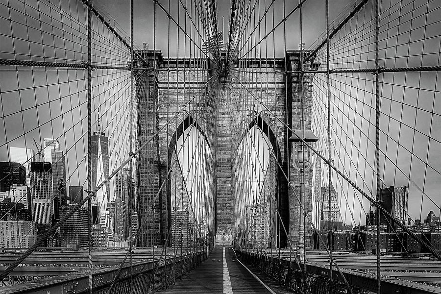 Brooklyn Bridge View To WTC NYC BW by Susan Candelario