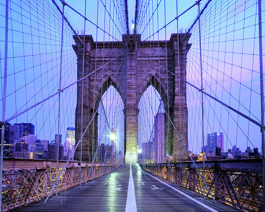 Brooklyn Bridge Walkway At Dawn, New Photograph by Andrew C Mace