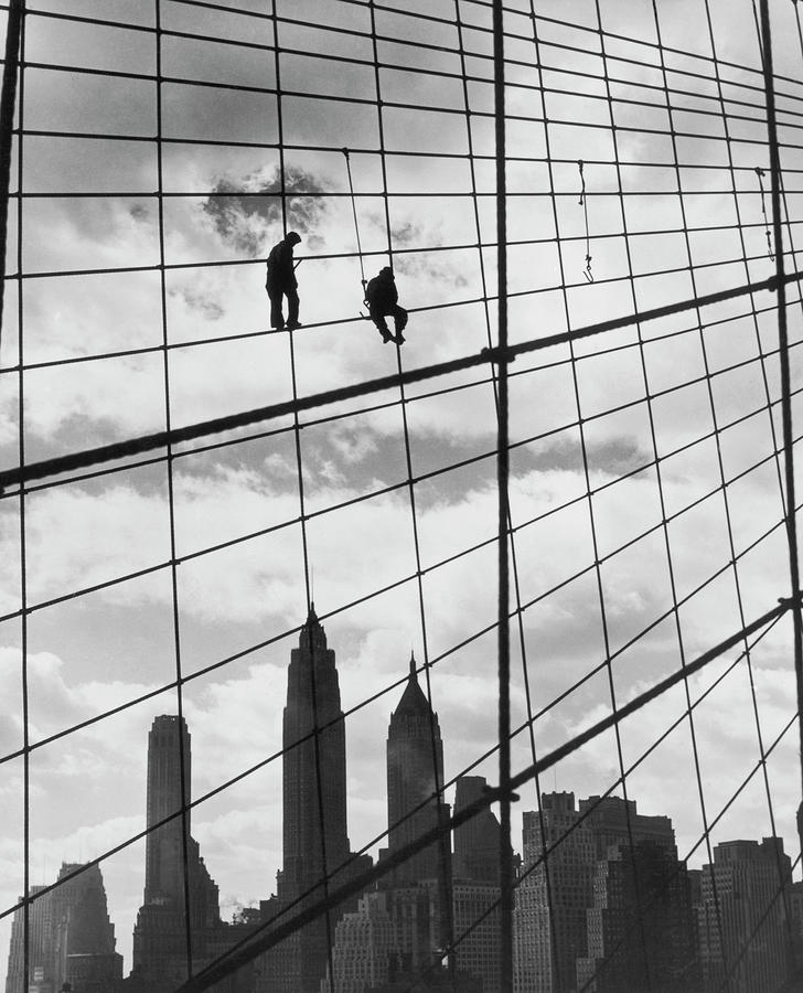 Brooklyn Bridge Workers Photograph by Archive Photos