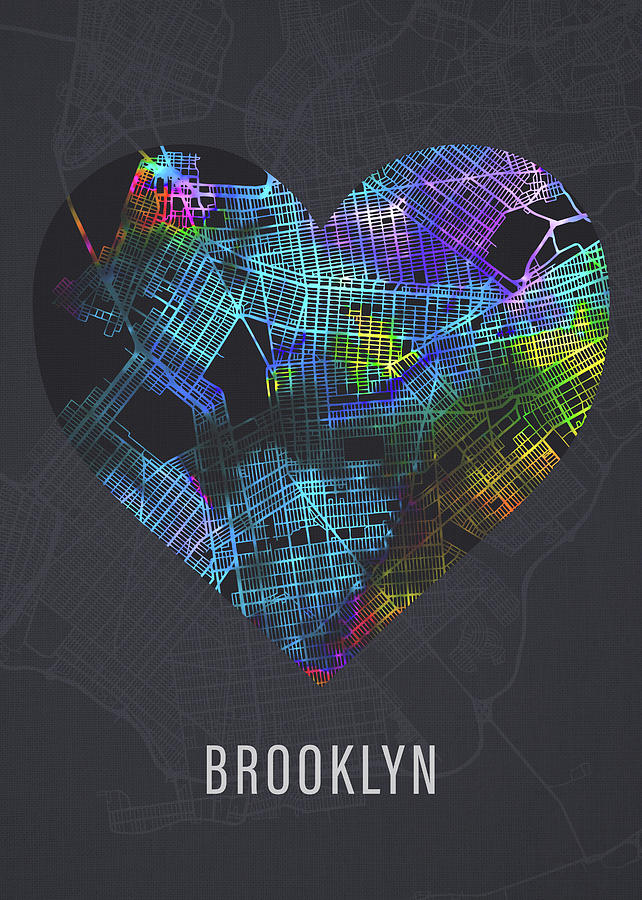 Brooklyn Mixed Media - Brooklyn New York City Heart Street Map Love Dark Mode by Design Turnpike