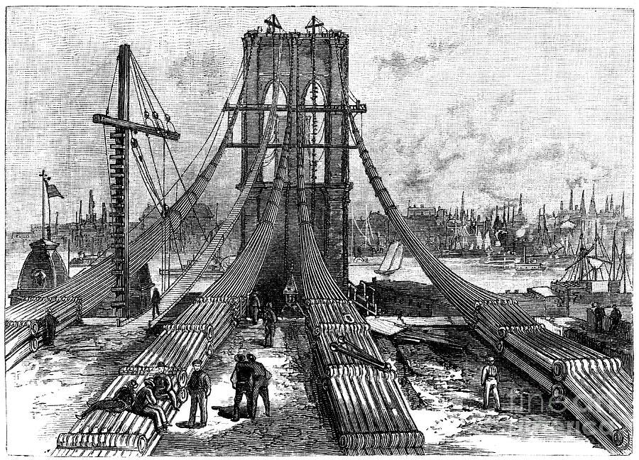 Brooklyn Suspension Bridge, New York Drawing by Print Collector