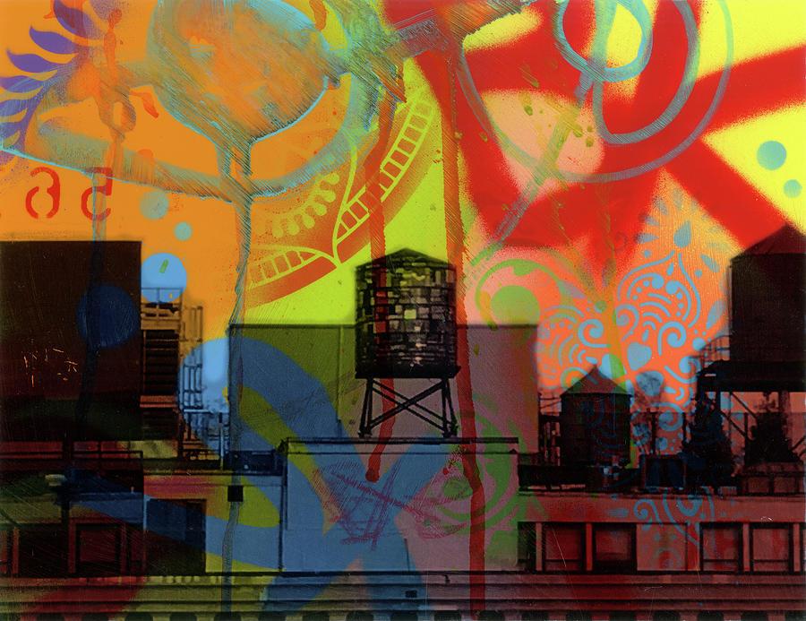 Urban Scenes Mixed Media - Brooklyn Watertower by Dean Russo- Exclusive