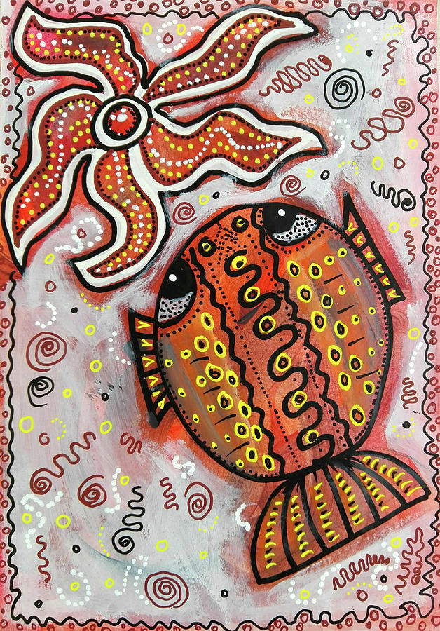 Starfish Mixed Media - Brother Fish And Sister Starfish In Deep Conversation by Mimulux patricia No