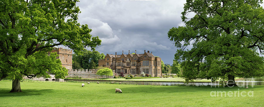 Broughton Castle Photograph - Broughton Castle In Spring Panoramic by Tim Gainey
