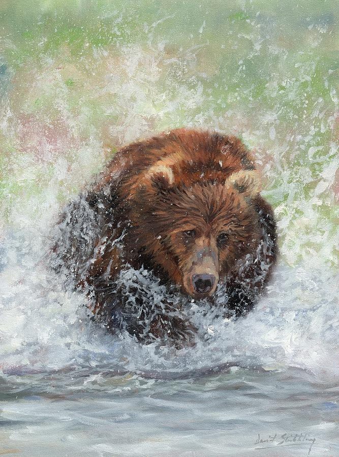Brown Bear Charging Through Water by David Stribbling