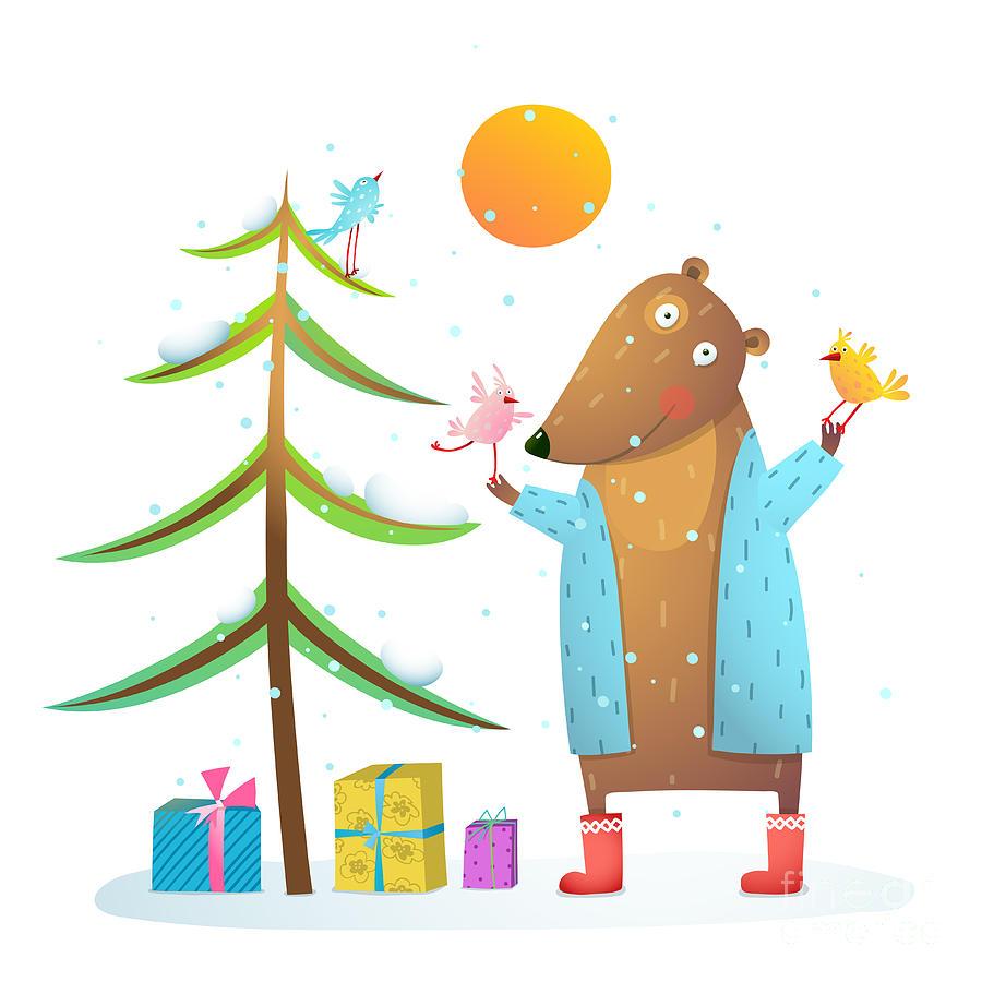 Gift Digital Art - Brown Bear Wearing Warm Winter Coat by Popmarleo