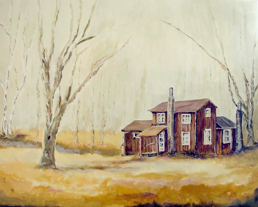 Landscape Painting - Brown House Off Quehanna Road by Rosita Pisarchick