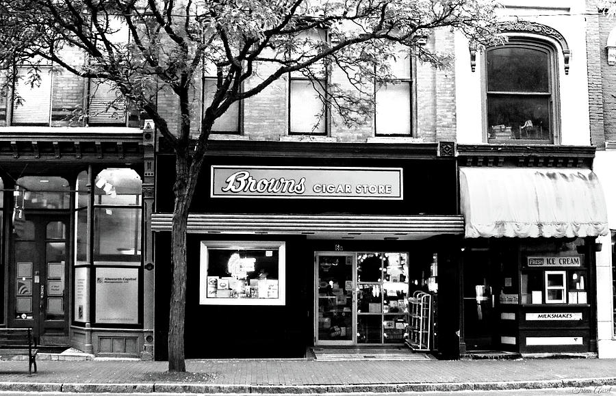 Stores Photograph - Browns Cigar Store In Black And White by Trina Ansel