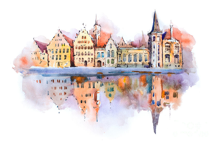 Belgian Digital Art - Bruges Cityscape Watercolor Drawing by Undrey