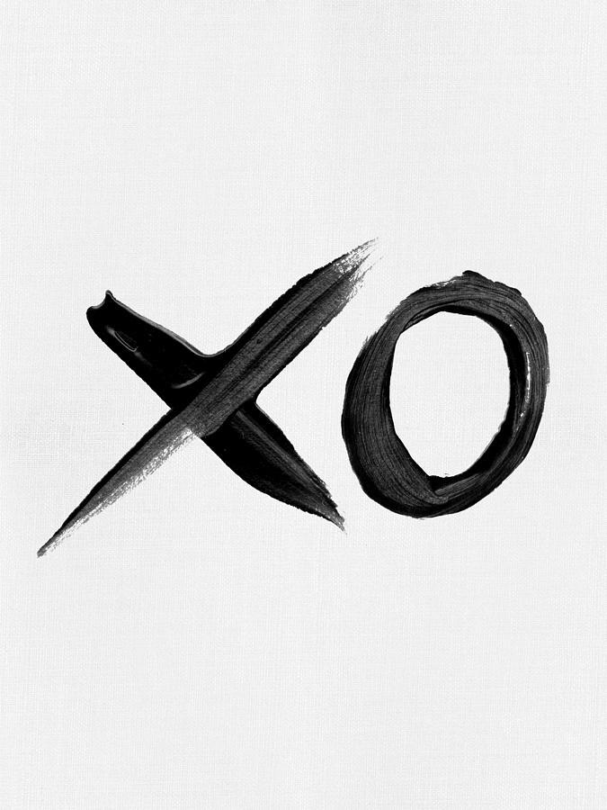 Black And White Mixed Media - Brush Stroke Xo by Naxart Studio