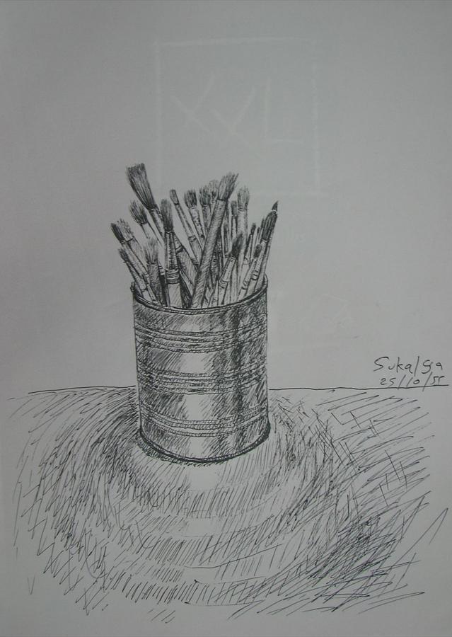 Brushes In A Tin Can by Sukalya Chearanantana