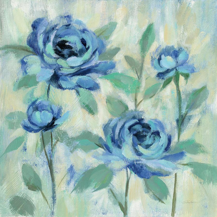 Blue Painting - Brushy Blue Flowers I by Silvia Vassileva