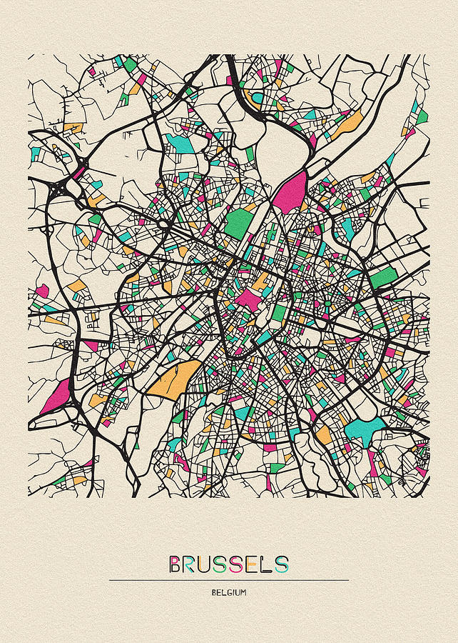 Brussels Drawing - Brussels, Belgium City Map by Inspirowl Design