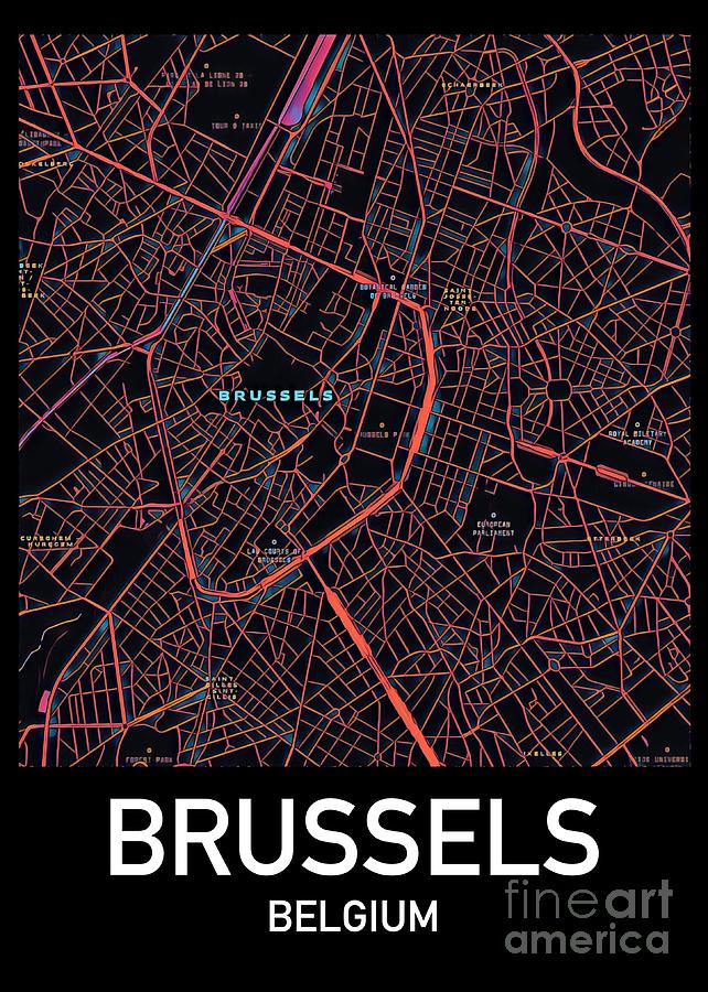 Brussels City Map Digital Art by HELGE Art Gallery