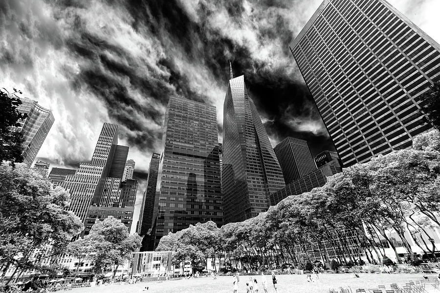 Bryant Park Photograph - Bryant Park Summer Sky In New York City by John Rizzuto