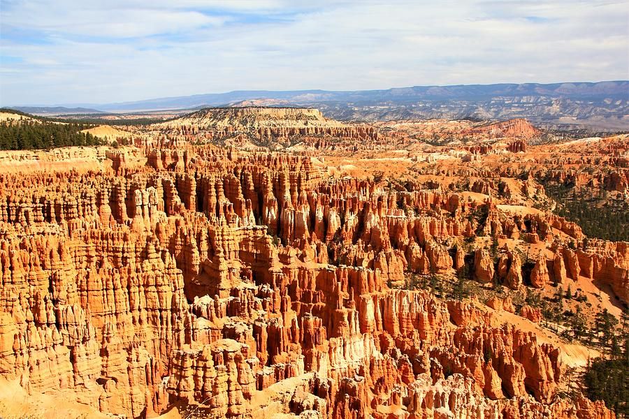 Bryce Canyon Hoodoos skyline cloudy sky mountain ridge in the distance a7 Photograph by David Frederick