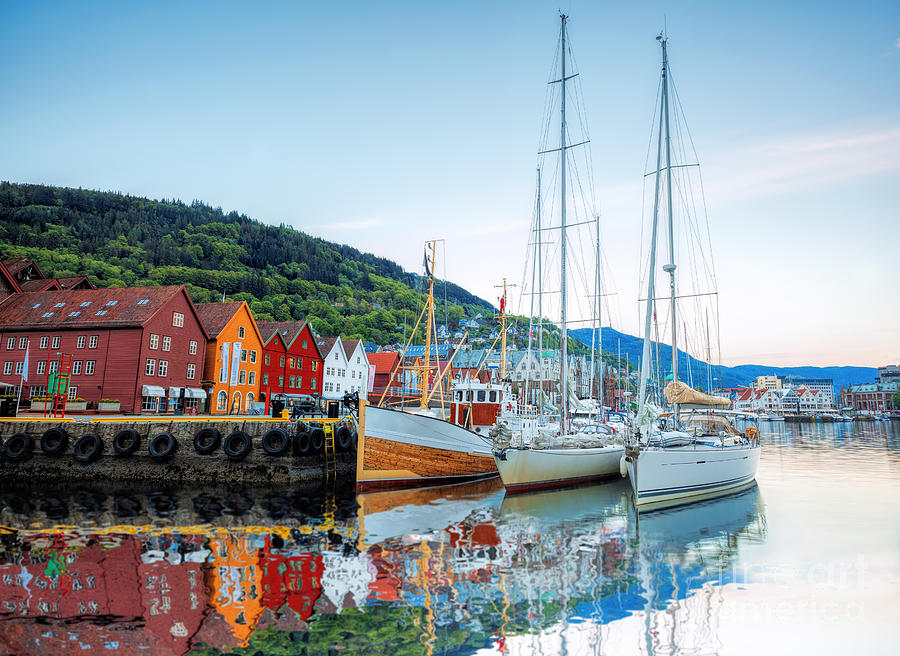 Sailboat Photograph - Bryggen Street With Boats In Bergen by Samot