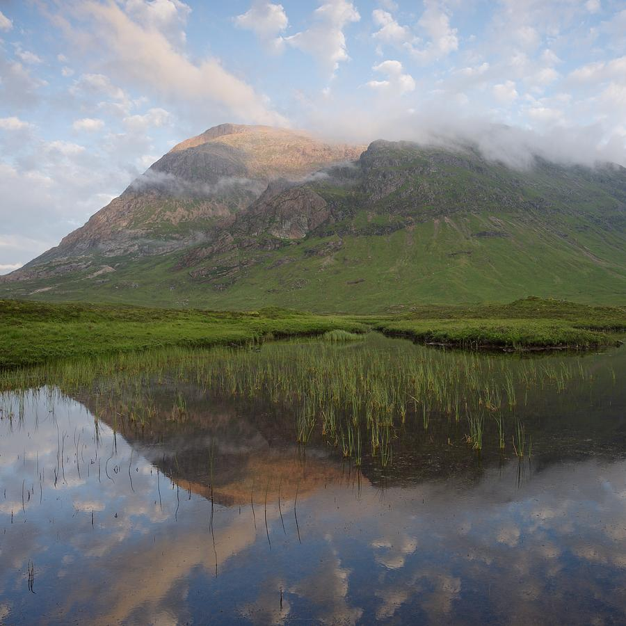 Buachaille Etive Mor reflected in Lochan na Fola by Stephen Taylor