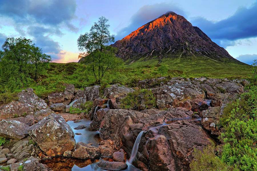 Buachaille Etive Mor with Etive Mor Falls - Scotland - Sunrise Landscape by Jason Politte