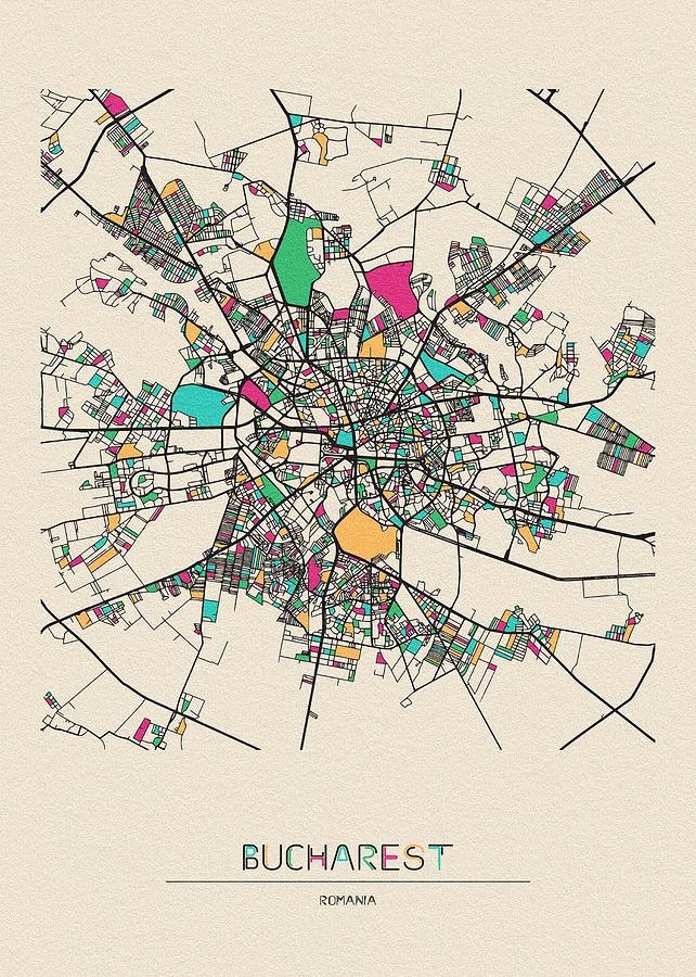 Bucharest, Romania City Map