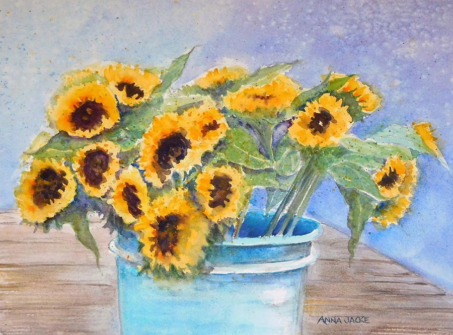 Bucket of Sunflowers by Anna Jacke