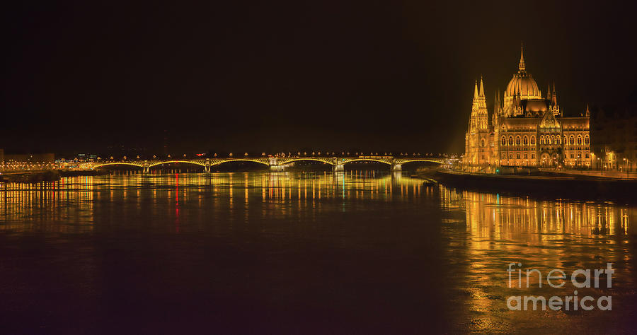 Panorama Photograph - Budapest By Night - Over Danube River by Stefano Senise