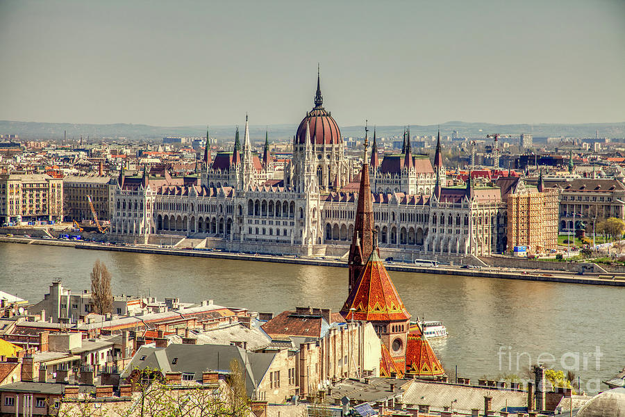 Gothic Photograph - Budapest Panorama - Parliament On Danube River by Stefano Senise