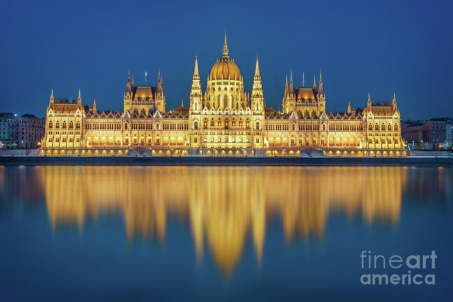 Budapest Photograph - Budapest Parliament At Night by Delphimages Photo Creations