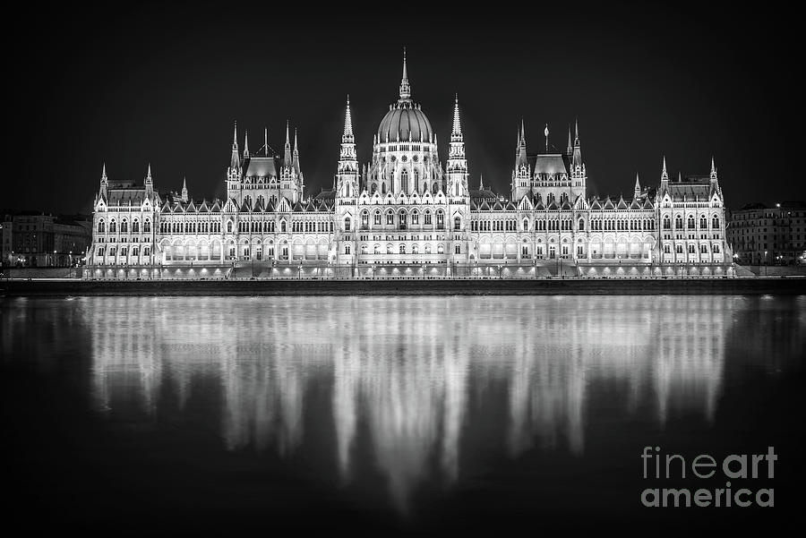 Budapest Photograph - Budapest Parliament Black And White by Delphimages Photo Creations