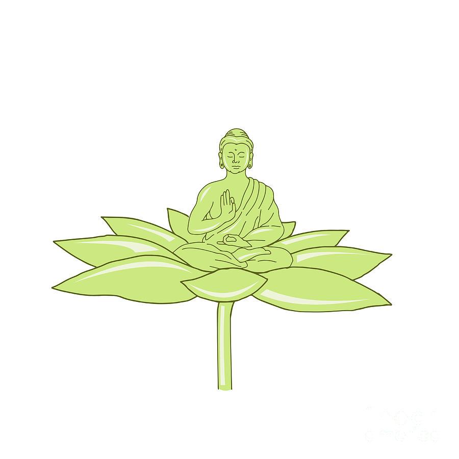 Buddha sitting on lotus flower drawing digital art by aloysius drawing digital art buddha sitting on lotus flower drawing by aloysius patrimonio izmirmasajfo