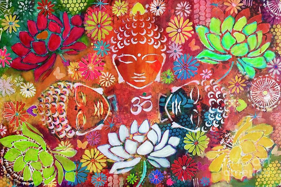 Buddha with lotuses  by Corina Stupu Thomas