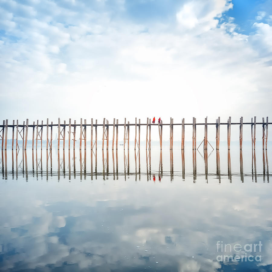 Magic Photograph - Buddhist Monks Crossing Wooden U Bein by Banana Republic Images