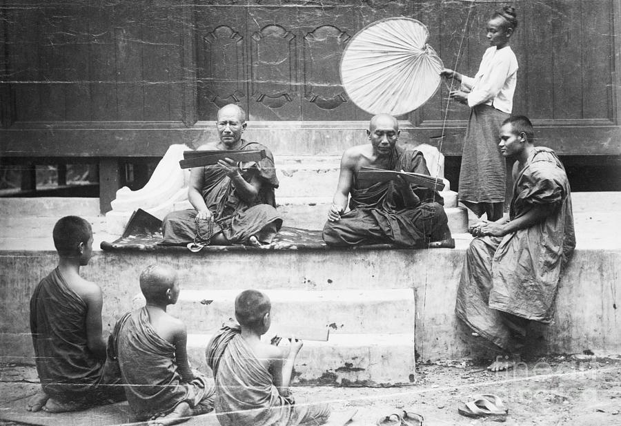 Buddhist Monks Teaching Law From Palm Photograph by Bettmann