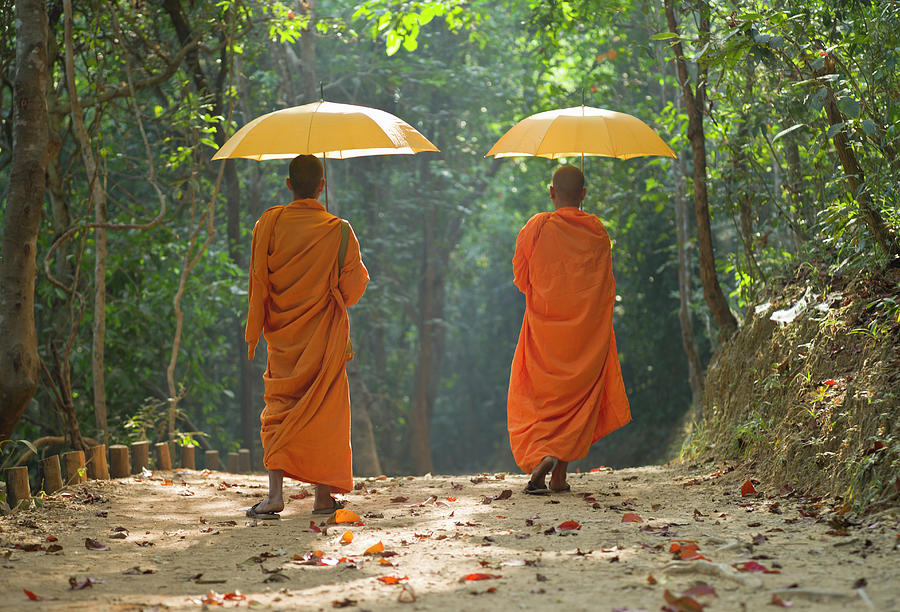 Buddhist Monks Walking Along Dirt Road Photograph by Martin Puddy
