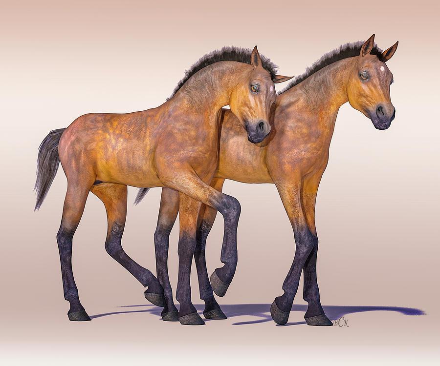 Horse Digital Art - Buddies For Life by Betsy Knapp