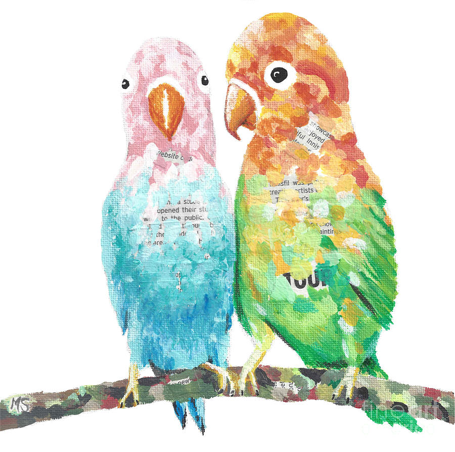 Budgies In Love by Monika Shepherdson