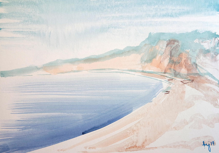 Budleigh Salterton beach painting watercolour by Mike Jory