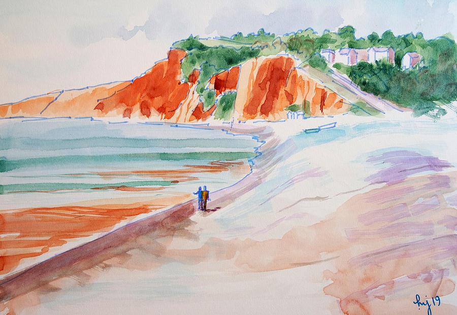 Budleigh Salterton Devon beach red cliffs painting watercolour en plein air by Mike Jory