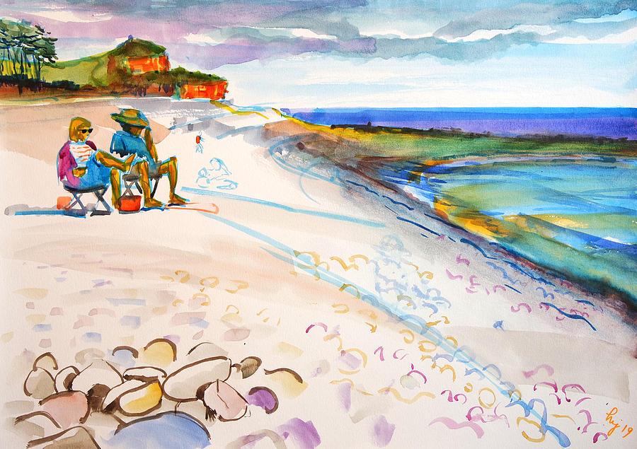 Budleigh Salterton pebble beach in Devon painting en plein air by Mike Jory